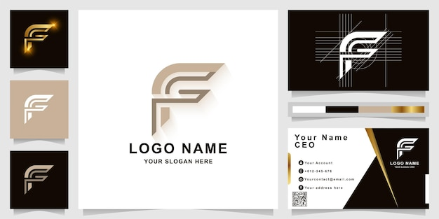 Szablon logo monogram litery f lub ff z projektem wizytówki