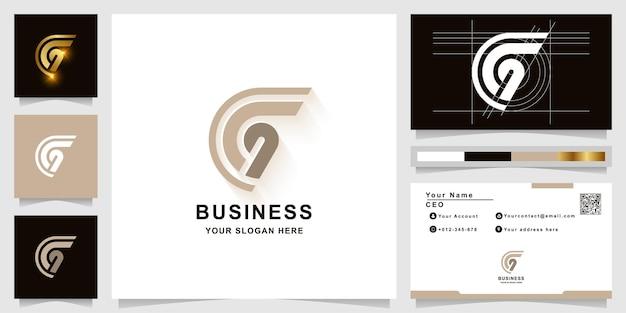 Szablon logo monogram litery g lub cg z projektem wizytówki