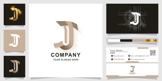 Szablon logo monogram litery j lub jj z projektem wizytówki