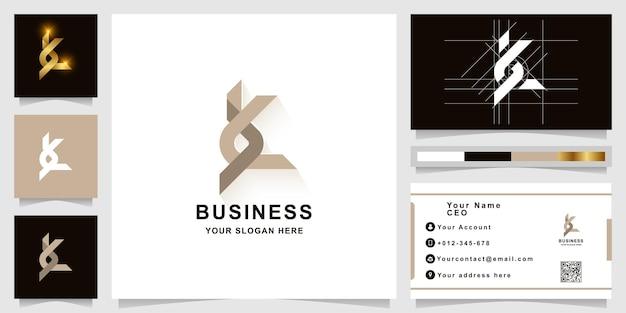 Szablon logo monogram litery k lub bk z projektem wizytówki