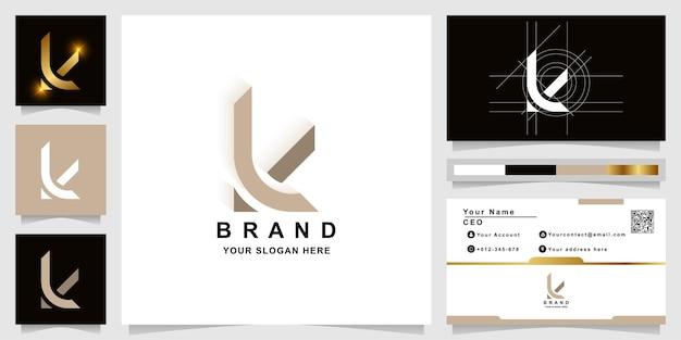 Szablon logo monogram litery k lub li z projektem wizytówki z projektem wizytówki