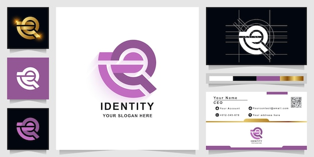 Szablon logo monogram litery q lub eq z projektem wizytówki