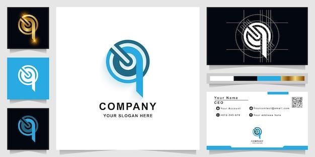 Szablon logo monogram litery q lub oq z projektem wizytówki