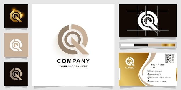 Szablon logo monogram litery q lub qq z projektem wizytówki