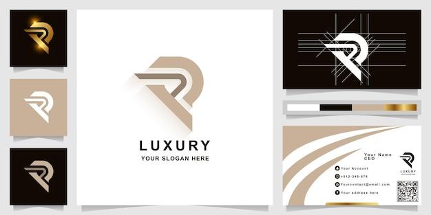 Szablon logo monogram litery r lub rr z projektem wizytówki
