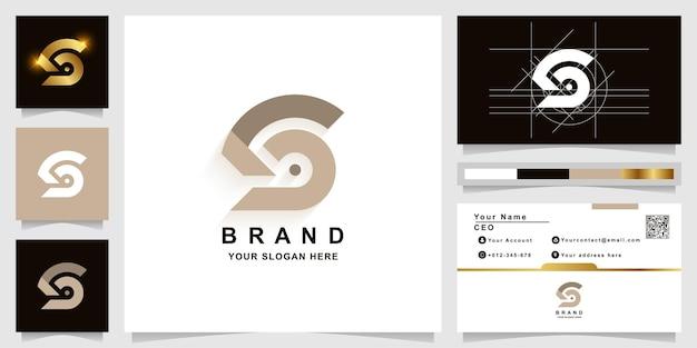 Szablon logo monogram litery s lub sb z projektem wizytówki