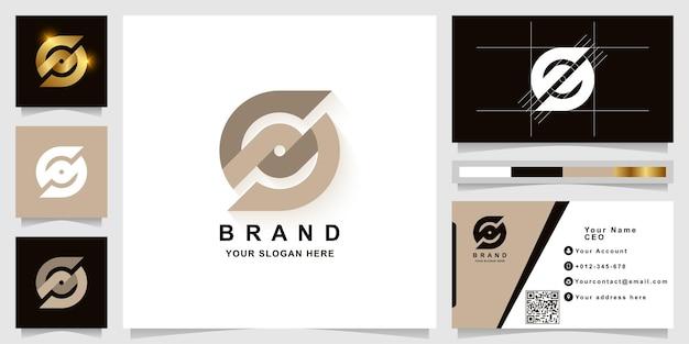 Szablon logo monogram litery s lub sd z projektem wizytówki