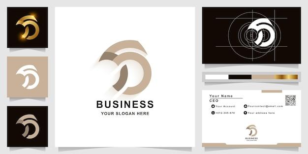 Szablon logo monogram litery s lub ss z projektem wizytówki