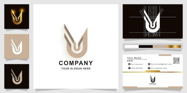 Szablon logo monogram litery u lub uu z projektem wizytówki