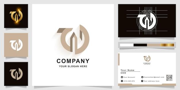 Szablon logo monogram litery w lub ad z projektem wizytówki