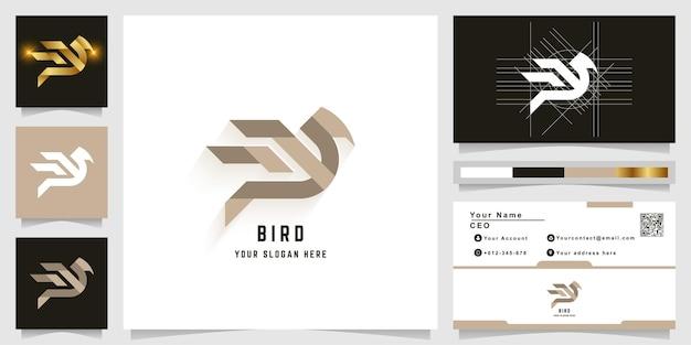 Szablon logo monogram litery w lub ptaka z projektem wizytówki