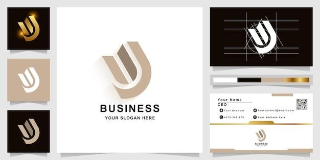 Szablon logo monogram litery w lub uj z projektem wizytówki