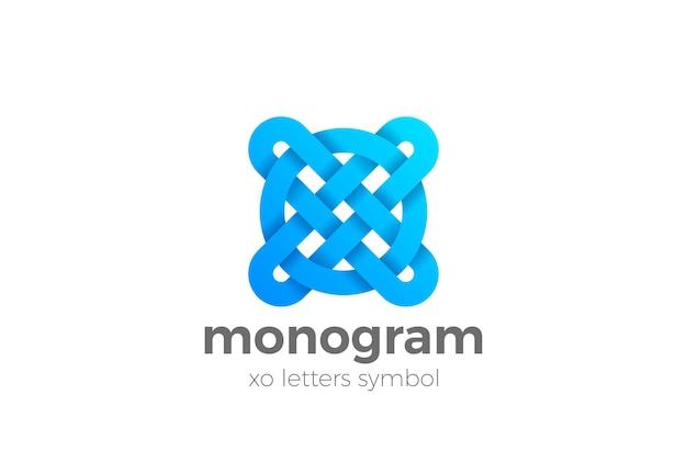 Szablon logo monogram litery xo.