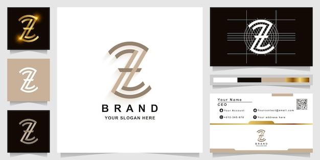 Szablon logo monogram litery z lub zz z projektem wizytówki