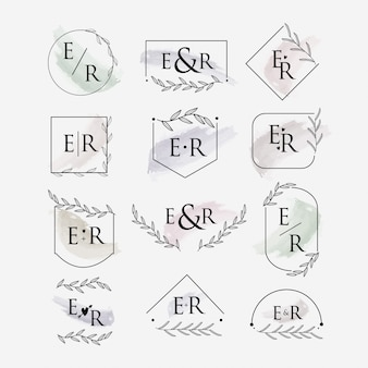 Szablon logo monogram ślubu