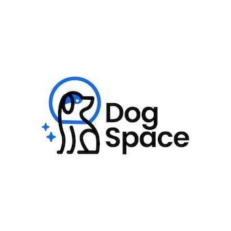 Szablon logo monoline astronauta kosmiczny pies