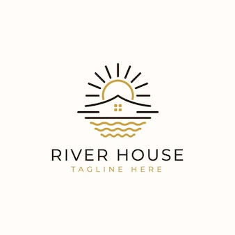 Szablon logo monoline river house.