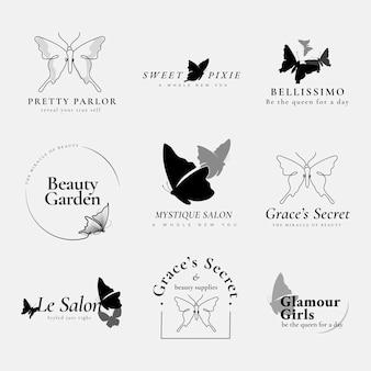 Szablon logo motyla, biznes kosmetyczny, czarny kreatywny płaski graficzny wektor zestaw