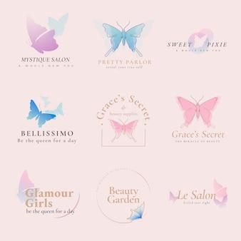 Szablon logo motyla, biznes kosmetyczny, pastelowy kreatywny płaski wektor graficzny zestaw