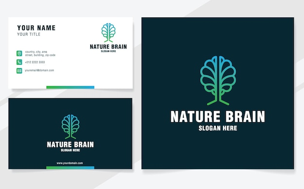 Szablon logo mózgu natury w nowoczesnym stylu