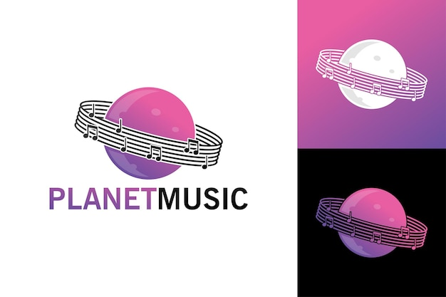Szablon logo muzyki planety wektor premium