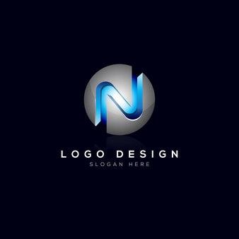 Szablon logo n letter 3d