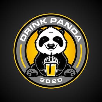 Szablon logo napoju panda