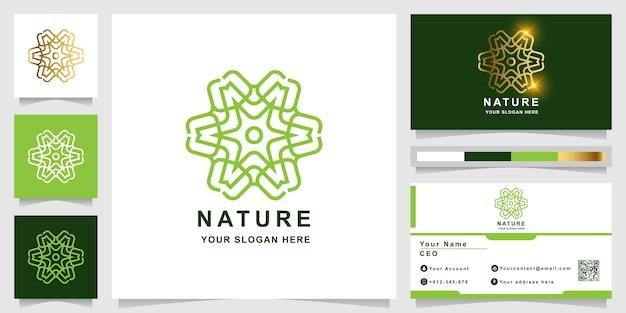 Szablon logo natura, kwiat, butik lub ornament z projektem wizytówki. może być używany do projektowania logo spa, salonu piękności lub butiku.