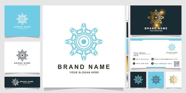 Szablon logo natura, kwiat, butik lub ornament z projektem wizytówki.