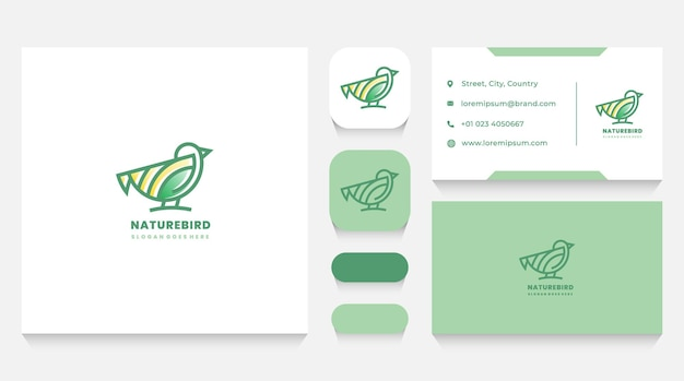 Szablon logo natura ptak i wizytówka