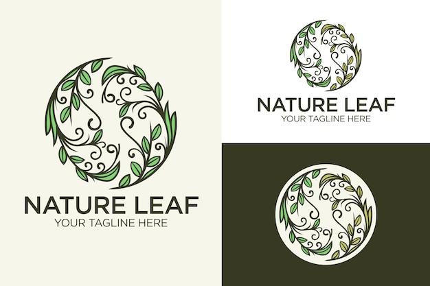 Szablon logo naturalne koło kreatywnych liści