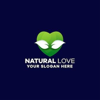 Szablon Logo Naturalnego Gradientu Miłości Premium Wektorów