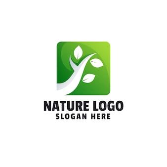 Szablon logo naturalny gradient liścia