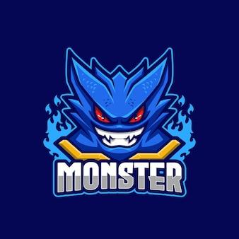 Szablon logo niebieski potwór e-sport