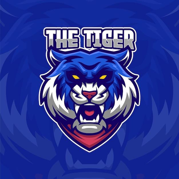 Szablon logo niebieski tygrys e-sport