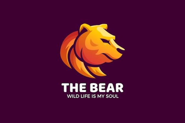 Szablon logo niedźwiedź gradient luksusowych