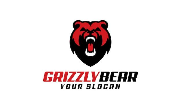 Szablon logo niedźwiedzia grizzly