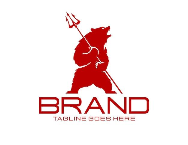 Szablon logo niedźwiedzia i trójzębu