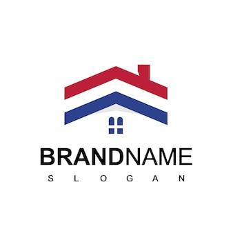 Szablon logo nieruchomości, symbol amerykańskiego domu