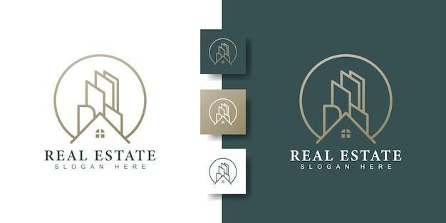 Szablon logo nieruchomości z kreatywną koncepcją sztuki złotej linii