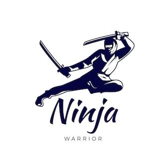 Szablon logo ninja w płaskiej konstrukcji