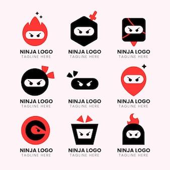 Szablon logo ninja w stylu płaski