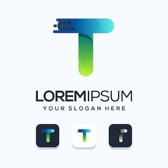 Szablon logo nowoczesne tech litera t