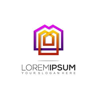 Szablon logo nowoczesnej budowy domu