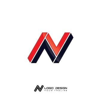 Szablon logo nowoczesnej firmy n letter