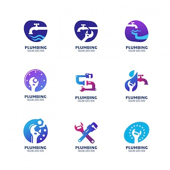 Szablon logo nowoczesnej hydrauliki dla usług instalacyjnych i firmy