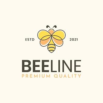 Szablon logo nowoczesnej linii pszczół