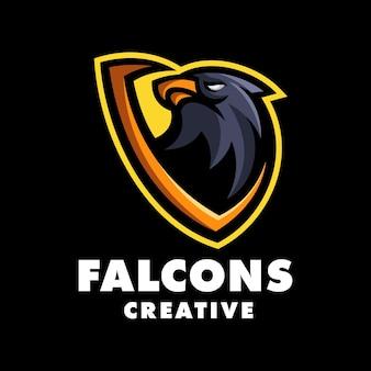 Szablon logo nowoczesnej maskotki falcon head