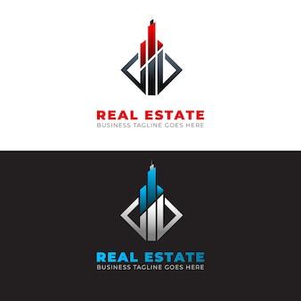 Szablon logo nowoczesnej nieruchomości z elementami
