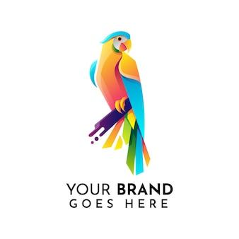 Szablon logo nowoczesnej papugi